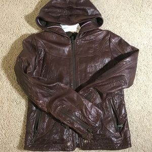Doma Hooded Leather Jacket Brown Size M